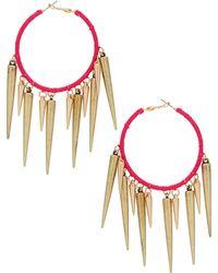Topshop Thread Spike Hoop Earrings - Lyst