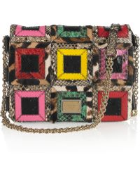 Dolce & Gabbana Miss Sicily Mini Embellished Brocade Tote With Snakeskin Trim multicolor - Lyst