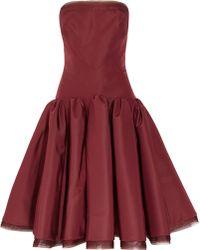 Zac Posen Strapless Silkfaille Dress - Lyst