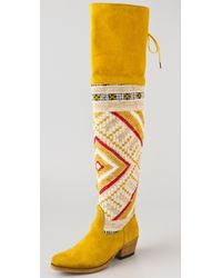 Cobra Society Zeus Over The Knee Suede Boots yellow - Lyst