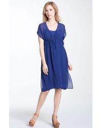 Eileen Fisher Vneck Silk Chiffon Dress - Lyst