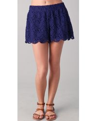 Free People Scalloped Lace Shorts - Blue