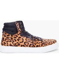 Saint Laurent Leopard Malibu High Top Sneakers - Lyst