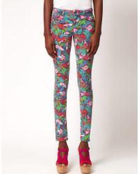 Asos Skinny Jean In Jungle Hibiscus Print - Lyst