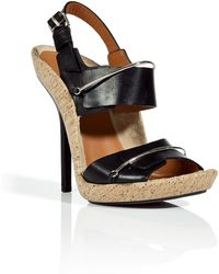 Givenchy Black and Natural Cork Sandals - Lyst