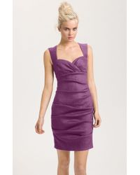Nicole Miller Ruched Linen Sheath Dress - Lyst
