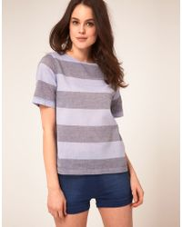 Boutique by Jaeger - Chambray Stripe Tshirt - Lyst
