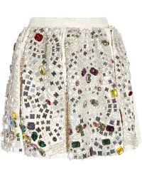 Dolce & Gabbana Crystal Embellished Jacquard Skirt multicolor - Lyst