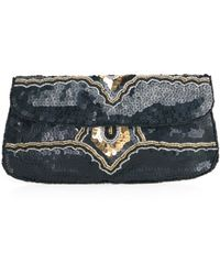 ModCloth Sequin and Find Clutch in Noir - Lyst