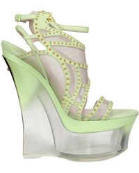 Versace 160mm Studded Suede and Mesh Wedges - Lyst