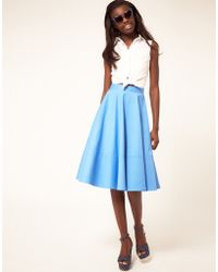 ASOS Collection Fit And Flare Midi Skirt - Lyst