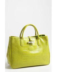 Longchamp Roseau Embossed Tote green - Lyst