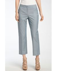Valette | Theodore Chambray Flare Ankle Trousers | Lyst
