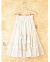 Free People Vintage Lace Tiered Floral Skirt - White