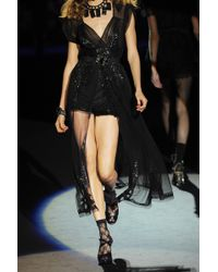 Anna Sui Embellished Tulle Gown black - Lyst
