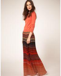 NW3 by Hobbs Marmalade Stripe Maxi Skirt - Orange