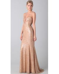 Reem Acra Tulle and Sequin Gown gold - Lyst