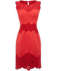 Karen Millen Heavy Cotton Lace Collection Dress red - Lyst