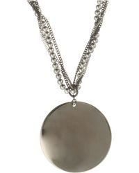 Kenneth Cole - Silver Disc Pendant On Beaded Chain Necklace - Lyst
