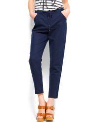 Mango Loosefit Linen Trousers - Lyst