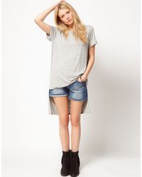ASOS Collection Asos Tshirt with Oversize Dip Back Hem - Lyst