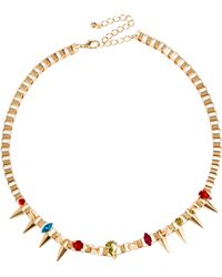 Asos Jewelled Spike Collar Necklace - Lyst
