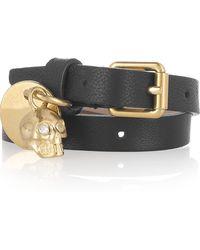 Alexander McQueen Skull Charm Leather Wrap Bracelet - Lyst