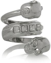 Alexander McQueen Swarovski Crystal Doubleskull Ring - Lyst