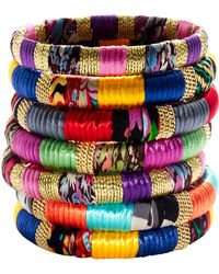 Cara Accessories Mixedfabric and Gold Bangle multicolor - Lyst
