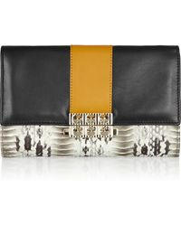 Christian Louboutin Roxanne Colorblock Watersnake and Leather Wallet - Lyst
