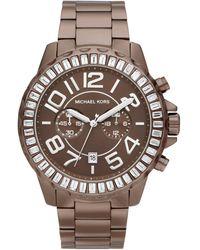 Michael Kors Womens Chronograph Espresso Tone Stainless Steel Bracelet 45mm - Lyst