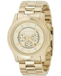 Michael Kors Men'S Chronograph Runway Gold-Tone Stainless Steel Bracelet Watch 44Mm Mk8077 - Lyst