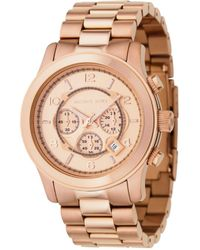 Michael Kors Men'S Chronograph Runway Rose Gold Plated Stainless Steel Bracelet Watch 46Mm Mk8096 - Lyst