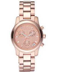 Michael Kors Women'S Chronograph Mini Runway Rose Gold-Tone Stainless Steel Bracelet Watch 33Mm Mk5430 - Lyst