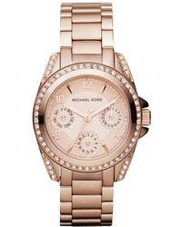 Michael Kors Women'S Chronograph Mini Blair Rose Gold-Tone Stainless Steel Bracelet Watch 33Mm Mk5613 - Lyst