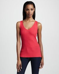 Misook Collection - Ribbed Vneck Shell - Lyst