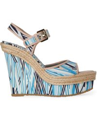 Mulberry Signature Graphic Wedge Sandals - Blue