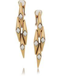 Oscar de la Renta 24karat Gold-Plated Link Clip Earrings - Lyst