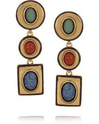 Oscar de la Renta 24karat Gold-Plated Semi Precious Stone Clip Earrings - Lyst