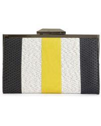 Rachel Roy Small Striped Frame Clutch - Black
