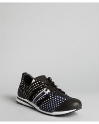 Y-3 Black Dotted Nylon Ratio Leather Trim Sneakers - Lyst