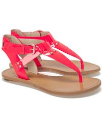 Belle By Sigerson Morrison Patent Leather Thong Sandals - Pink