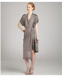 Bottega Veneta Light Titanium Silk Sheath with Silk Blend Knit Overlay - Lyst