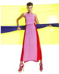 Hue Sleeveless High Neck Colorblocked Maxi A Line - Purple