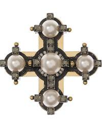 Lanvin Glass Pearl and Swarovski Crystal Cross Brooch - Metallic