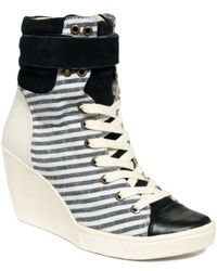 Nine West Perri Wedge Lace Up Sneakers - Lyst