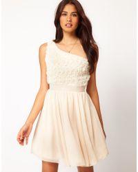 Little Mistress Little Mistress Applique One Shoulder Prom Dress - Lyst
