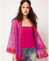 Winter Kate Winter Kate Avanti Bed Jacket in Printed Silk - Pink
