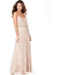 Adrianna Papell Sleeveless Spaghetti Strap Beaded Blouson Evening Gown - Lyst