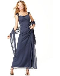 Alex Evenings Sleeveless Beaded Evening Gown - Lyst